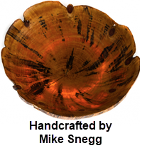 Transluscent Norfolk pine bowl handcrafted by Mike Snegg